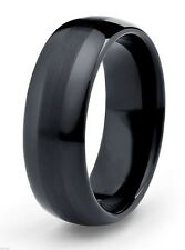 8mm Black Tungsten Ring Wedding Engagement Band Brushed Center Comfort Fit