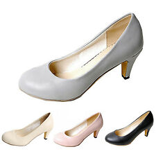 Womens Summer Leather Pumps Court Classic Ladies Mid heel Office Shoes Size