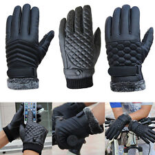 Mens Gloves Sports Anti Slip Faux Leather Gloves Driving Mittens Winter Warm