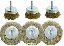 "3PC ROTARY 4""  WIRE WHEEL OR 3"" CUP BRUSH SET FOR DRILL FOR PAINT, RUST REMOVA"