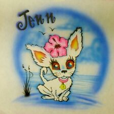 Airbrushed Custom T-shirt or Onesie Cute Dog Chihuahua Puppy with Flower
