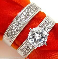 2.15c Bridal set round brilliant cut Engagement Ring Wedding band 14K Solid Gold
