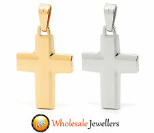 New 375 9ct 9K Italian Yellow White Gold Solid Cross Religious Pendant Necklace