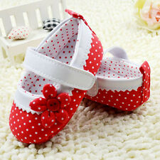 Red Mary Jane Infant Baby Girl Polka Dot Soft Sole Crib shoes 3-6-9-12 Months