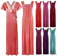 LADIES LONG SATIN CHEMISE NIGHTDRESS NIGHTIE WOMENS DRESSING GOWN 2PC SET 8-16