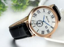 Mens Business Casual Roman Dial With Date Analog Quartz Wrist Watch Leather Band