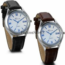 Men's Simple Roman Dial With Date Quartz Decoration Wrist Watch Leather Band New