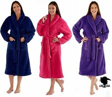 NEW LADIES SUPERSOFT FLUFFY DRESSING GOWN WRAP ROBE FUSHIA PURPLE OR NAVY MED108