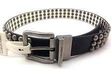 Calvin Klein Jeans Mens Leather Belt Semi Shine Belt Harness Reversible Studded