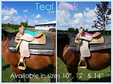 "10"" 12"" 14"" Western Youth Saddle Natural + Med Oil Tooled PINK + TEAL Suede Seat"