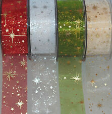 Christmas Organza Metallic Stars Ribbon 40mm width Cakes Cards Crafts Decoration