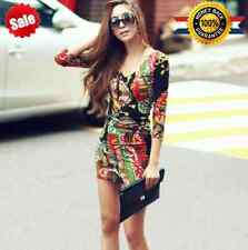 Fashion Womens Floral Bodycon Long Sleeve Bandage Cocktail Mini Short Dress D004