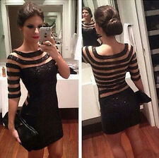 Women's Bandage Bodycon Long Sleeve Evening Sexy Party Cocktail Mini Dress D007