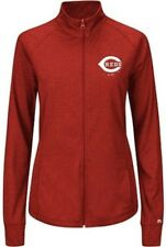 Cincinnati Reds MLB Majestic Womens Her Score Track Jacket Red Plus Sizes