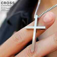 Fashion Stainless Steel Cross Pendant Mens Women Couple Lover Necklace Gift