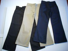 GIRLS FLAT FRONT FLARE PANTS UNIVERSAL SCHOOL UNIFORM NAVY KHAKI BLACK NEW NWT