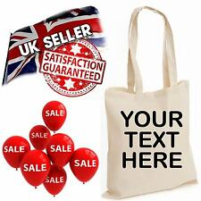 Custom Text Hen Stag Party Gift Personalise Tote Shopping Bag Natural Cotton Lot