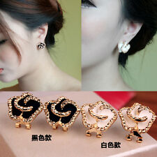 Lovely Women Rose Flower 18K Gold GP Crystal Stud Earring Pierced Clip Back Gift
