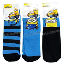 New 3 Pairs Of Kids Boys Girls Despicable Me Minions Movie Socks In 3 Sizes