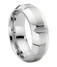 Men's Contemporary 9mm Brushed Finish Center Stainless Steel Ring
