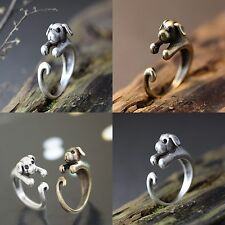 New Puppy Dog Retro Animal Ring Bronze Silver Wrap Adjustable Finger Ring
