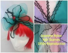 Nylon Scarf Hair Scarves Sheer Japan 40s 50s Rockabilly PinUp Scalloped Edge