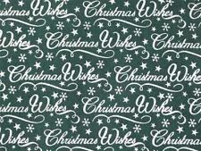 CHRISTMAS WISHES Green and white polycotton material fabric for craft bunting
