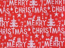 HAPPY CHRISTMAS Red and white polycotton material fabric for craft bunting