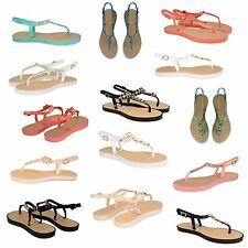 WOMENS SUMMER STRAPPY THONG SANDALS OPEN TOE SUMMER DIAMANTE OPEN TOE SHOES SIZE