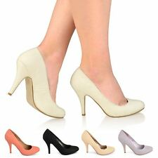 WOMENS LADIES HIGH HEEL PARTY COURT SHOES PUMPS EVENING OFFICE WORK SLIP ON SIZE