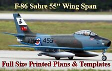 """F-86 Sabre 55""""WS 1/8 Giant Scale RC Airplane Full Size PRINTED Plans & Templates"""