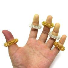 2Pcs/Lot Acupuncture Massage Silver&Gold Finger Ring Finger Massager Health Tool