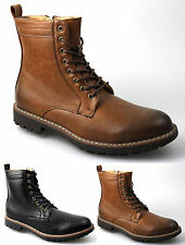 Mens Tan Brown Black Faux Leather Winter Lace Up Boots All Sizes UK
