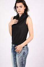 PILOT® Sleeveless Cowl Neck Knitted Top in Black
