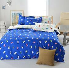 Blue Horse Single Double Queen King Size Bed Set Pillowcases Quilt Duvet Cover