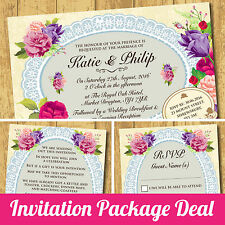 Package Deal: Wedding Invitation, RSVP Card & Gift Poem Card *Roses Lace Purple