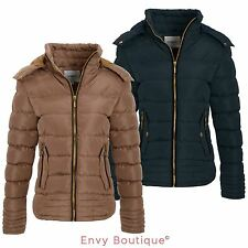 NEW LADIES WOMENS PADDED QUILTED WINTER PARKA HOOD JACKET COAT SIZES 8-16