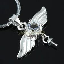 Cleear Quartz Facected Crystal Eagle Wing Angel Wings Charm Pendant Bead Jewelry