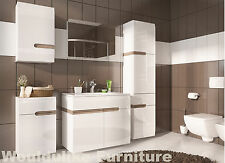 Chelsea Bathroom High Gloss Range with Oak Style Trim - Entire Range Available