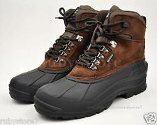 LABO Men's Brown Winter Snow Boots Shoes Waterproof Insulated Lace UP (D,M) 103