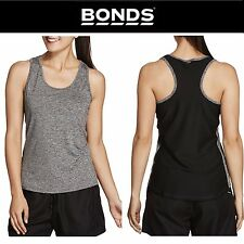 BONDS LADIES WOMENS SPLICED ACTIVE TANK BLACK RACER BACK TEE GYM TOP NEW SINGLET