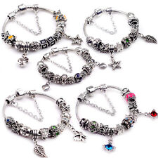 European Charms Beads Bracelets Snake Chain 925 Silver Sterling DIY