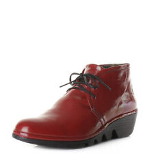 Womens Fly London Pert Red Low Wedge Heel Ankle Boots Shoes Size