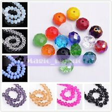 72pcs 8x6mm New Faceted Rondelle Crystal Glass Charms Loose Spacer Bead Findings