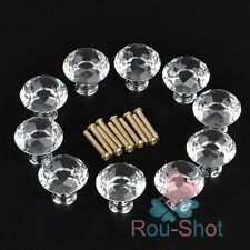 NEW 30/40mm Diamond Clear Crystal Glass Door Pull Drawer Knob Cabinet Furniture