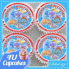 HAPPY BIRTHDAY CHILDRENS CUTE DINOSAUR EDIBLE CUPCAKE TOPPERS RICE PAPER CCT204