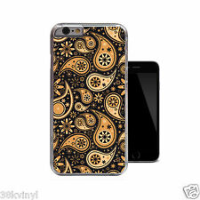 Orange Paisley Pattern Black Classy Floral Case Cover For iPhone 4 4s 5 5s 5c 6