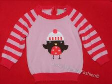 NEW baby girl TU pink red striped Christmas robin jumper age 3-6 6-9 9-12 12-18m