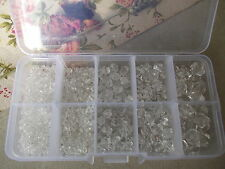 400+ X MIXED SIZES CLEAR BICONE FACETED ROUND BEADS,JEWELLERY CRAFT MAKING & BOX