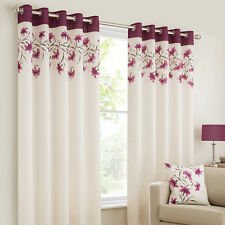 PURPLE LILY FLOWERBORDER LINED CREAM SILK EYELET READYMADE CURTAINS FREE POSTAGE